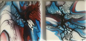 Set of 2 Hand Painted Ceramic Coasters Blue & Dark Red made in UK (15)